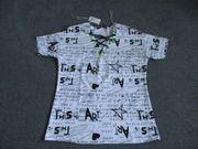 Shirt mit Schnürung-weiß schwarz neongrün -