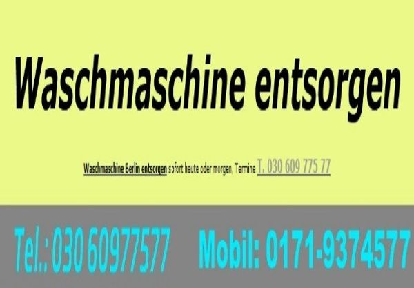 Waschmaschine entsorgen Berlin