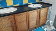 Waschtisch 2 Waschbecken selbstgebaut Kiefer