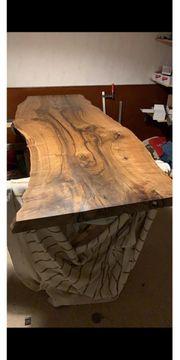 Esstisch Tisch Tischplatte Nussbaum Massivholztisch