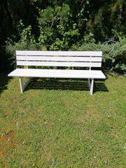 Gartenbank Holzbank mit Lehne - Weiß -