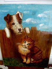 4 alte Ölgemälde Gemälde