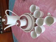 Kaffeeservice weiß-braun sehr selten benutzt