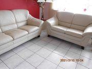 Ledercouchgarnitur 3-Sitzer und 2-Sitzer Beige