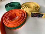 Judogürtel Kampfsportgürtel Karategürtel gelb orange-grün