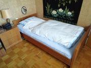 Bett Nachttisch Lattenrost Echtholz Nussbaum