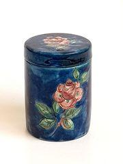 Keramikdose Dose blau mit Rosendesign