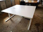 Steh-Sitz-Schreibtisch in weiß 160 x