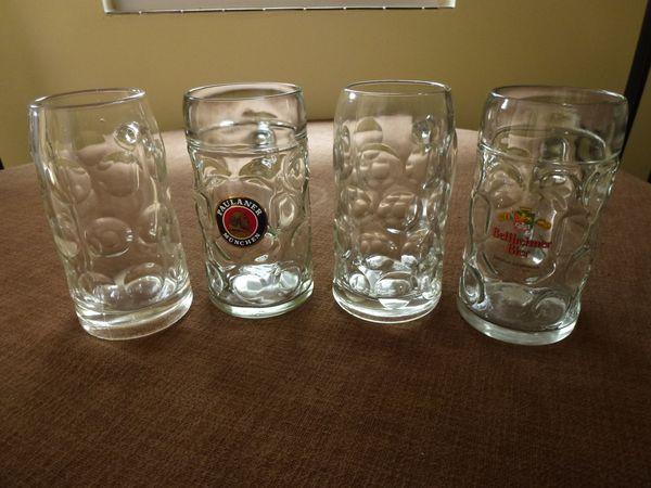 3 Glaskrüge - Böhl-iggelheim - 3 Glaskrüge, 1 Liter, 1x neutral, 1 xBellheimer Bier, 1 x Paulaner Bier, 12,- EUR FP. - Böhl-iggelheim