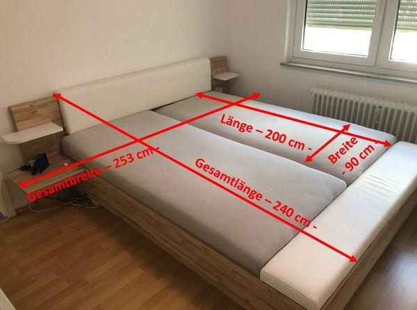 Bettanlage Planked Eiche NB Weiß