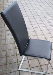 Freischwinger Metallstuhl - Gestell alufarbig - Polster