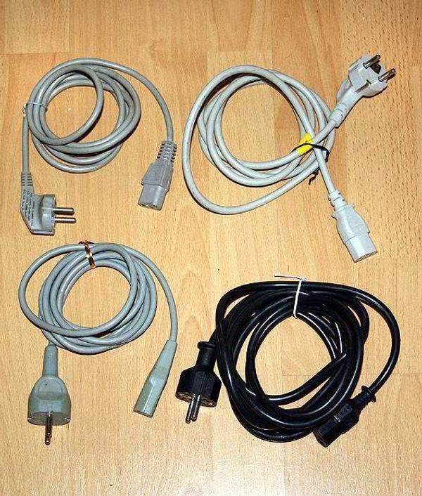 4x Kaltgeräte Kabel 3-polig Netzkabel f