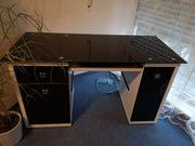 Schreibtisch schwarz-hochglanz-weiß Glasplatte