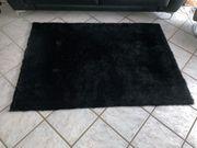 Teppich Hochflorteppich schwarz Glitzer