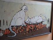 Ölgemälde 2 Katzen auf Leinwand