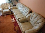 Ledersofa 3-Sitzer mit 2 Sessel