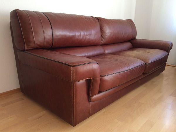Gobet Leder-Sofa Leder-Couch rot-braun kastanien-braun