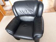 verschenke Couch schwarz Leder Sessel