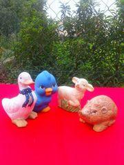 4 kleine Deko Tierfiguren