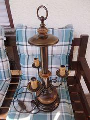 Tischlampe 3-flammig Holz Metall