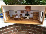 Alte Puppenstube Puppenküche m Mobilar