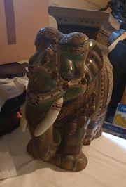 Indischer Elefant Keramik Blumenständer Deko