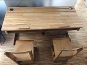 original Schulbank aus Holz mit