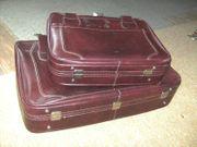 Zwei Leder Reisekoffer Rotbraun