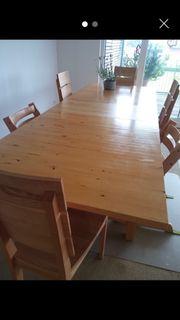 Eiche Holztisch 6 Stühle