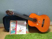 Gitarre inkl Hülle Grundlagenhefte und