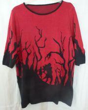 Pullover - dunkles rot mit schwarzem