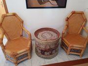 Sitzgruppe Holz-Bambus Tisch mit Muscheln
