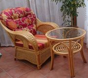 Rattan-Sitzgruppe Bambus Tisch und 2