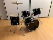 Schlagzeug Komplett-Set in schwarz