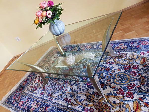 Glastisch Tisch- Luxus Couchtisch Messing