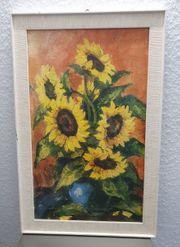 Gemälde Sonnenblumen in blauer Vase