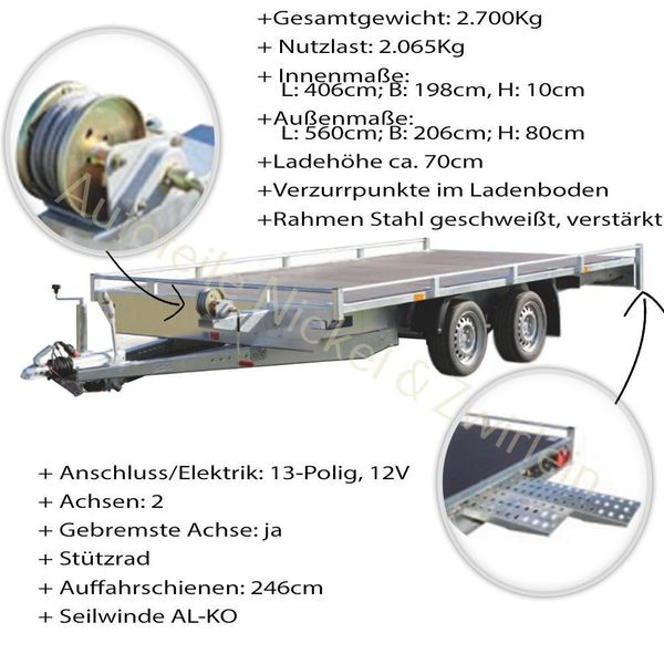 PKW Anhänger Auto Transport Autotransporter