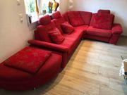 Sehr hochwertige rote Stoff Couchgarnitur