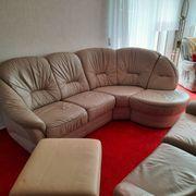 Couchgarnitur aus Leder - mit Eckteil