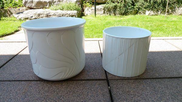 2 weiße Keramik Blumentöpfe Blumenübertopf
