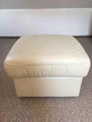 Lederhocker hellbeige umbaubar zum Sessel