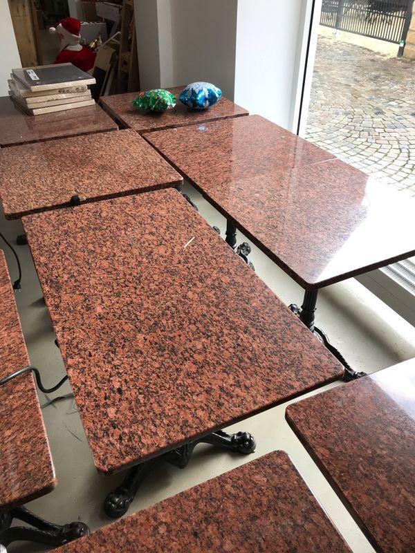 Granit Tische mit Gusseisen Gestell