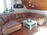 Velour Wohnlandschaft in beige - Sofa - Couch