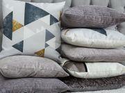 Dekokissen mit Rechtecken Baumwolle grau