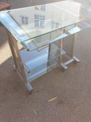 Schreibtisch Stahl und Glas