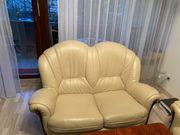 Schöne Couchgarnitur Leder Beige