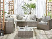 Lounge Set Rattan taupe 6-Sitzer