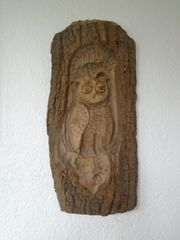 Holzschnitzerei Eule - Uhu 53 cm