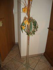 Vase - Flötenvase incl Seidenarrangement - wunderschön