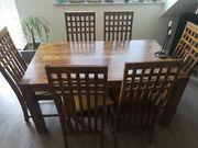 Palisander Massivholztisch mit 6 Stühlen